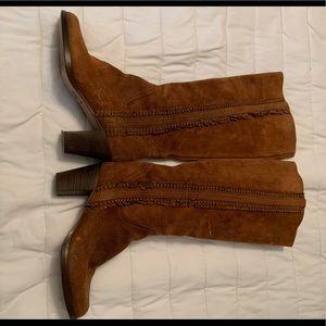 Frye Bella Ali Flower Suede Fringe Boots